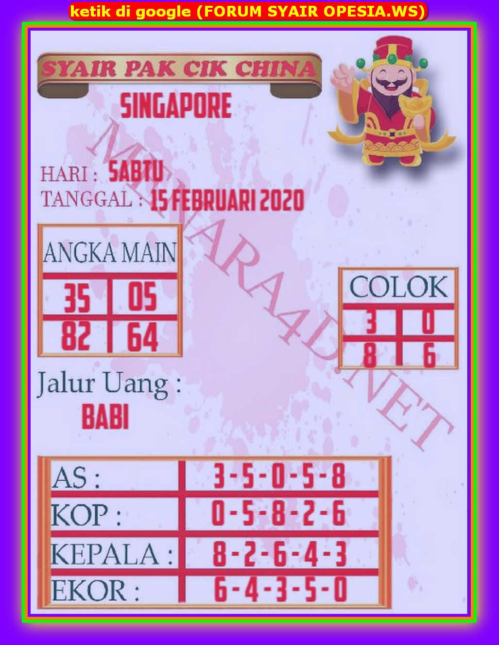 Kode syair Singapore Sabtu 15 Februari 2020 118