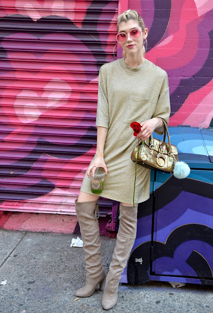 t shirt dress, metallic, over the knee boots, otk boots, gold, rose, new york street style, street style, fashion week, nyfw