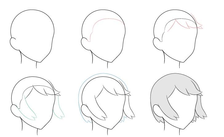 Rambut anime bertiup angin 3/4 tampilan menggambar langkah demi langkah