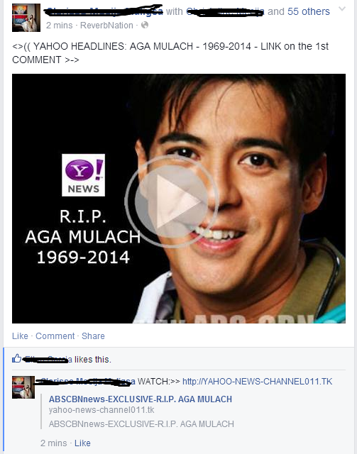 Aga Mulach Death Hoax Seen on Facebook