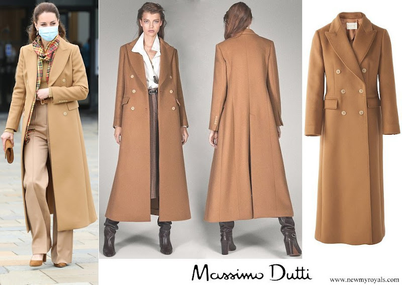 Kate Middleton wore Massimo Dutti cashmere wool camel coat