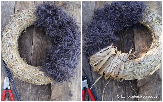 Strohrömer zur Hälfte mit Wollresten umwickeln