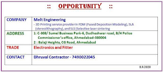 ITI Electronics and Fitter Jobs Vacancy In Melt Engineering Company In Ahmedabad