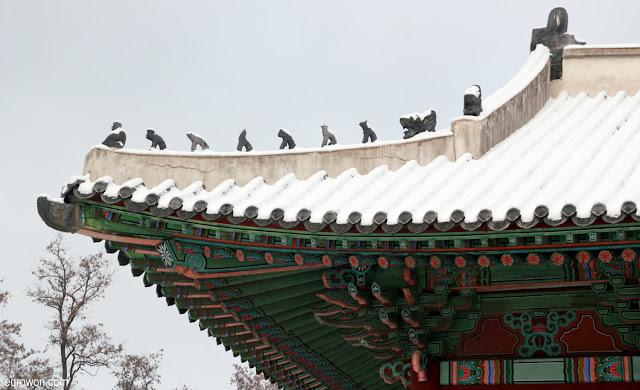 Tejado tradicional coreano con nieve