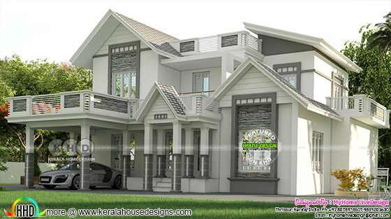 2277 square feet 4 BHK sloping roof home