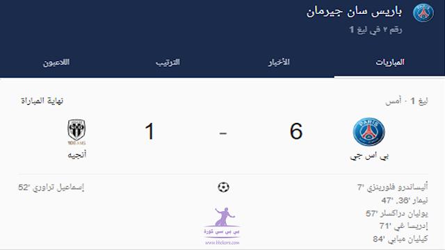 ملخص وأهداف مباراة باريس سان جيرمان ضد أنجيه