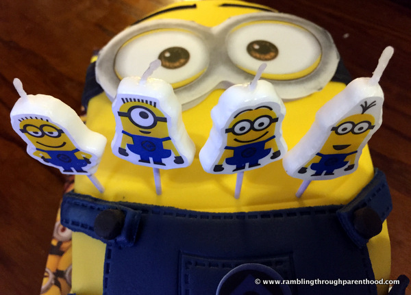 Minions candles on a cake