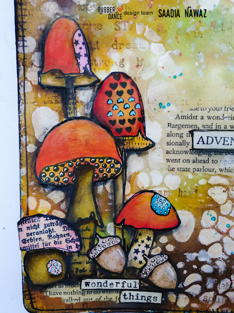 Art journal spread with Rubber Dance stamps Textured Mushrooms, stencils and ink sprays, on Dylusions journal #tcwstencillove
