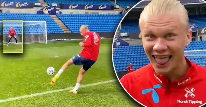 Video of outrageous shot from Erling Haaland to teammates
