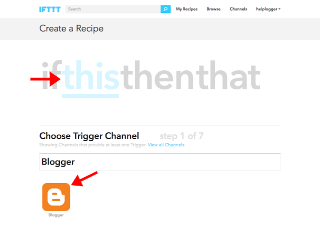 create Blogger recipe using IFTTT