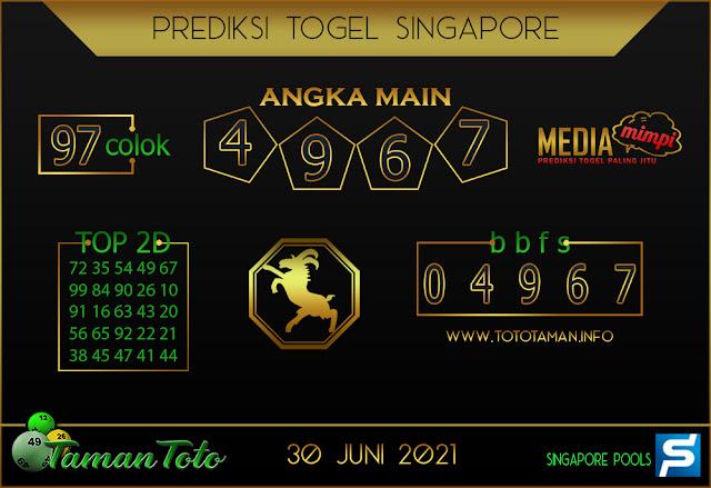 Prediksi Togel SINGAPORE TAMAN TOTO 30 JUNI 2021