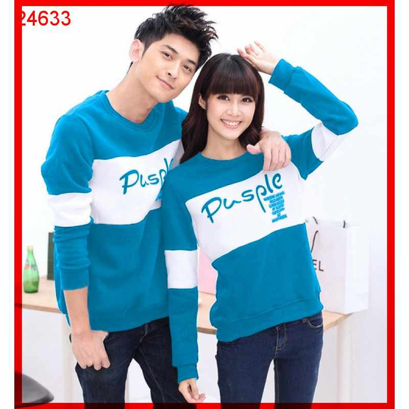 Jual Sweater Couple Sweater Pusple Cold Turquise White - 24633
