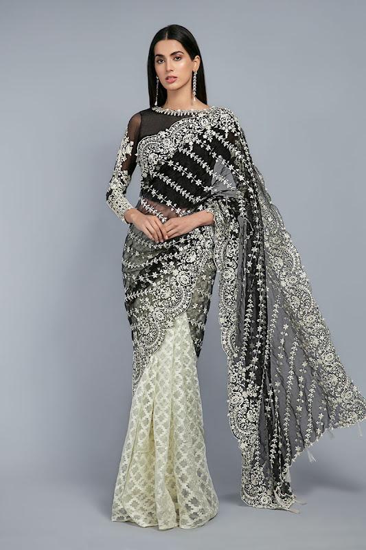 Maria B black sari Embroidered