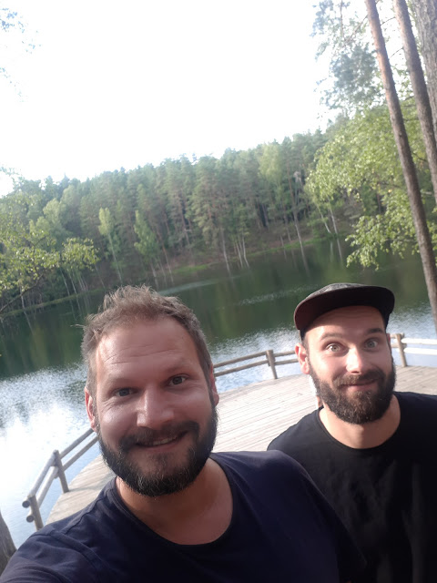 Paul from Passport Diary and Bjorn The Social Traveler at Devil's lake in Latvia