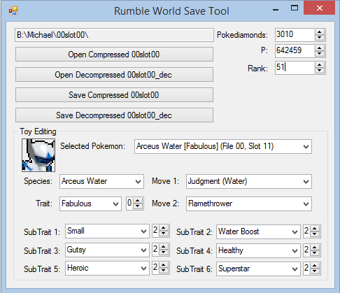 Homebrews 3DS: Pokemon Rumble World Save Editor