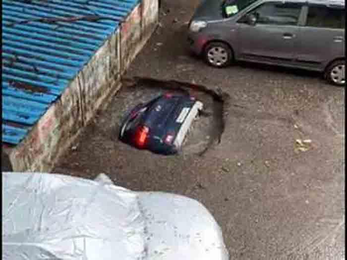 Mumbai: Parked SUV sinks into well as slab caves in at Ghakotpar Society, no injuries, Mumbai, News, Video, Car accident, Social Media, National