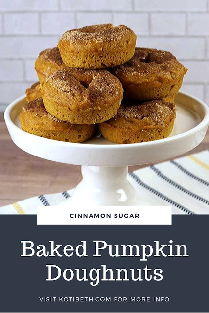 How to make delicious pumpkin doughnuts. How to make donuts from scratch. This quick homemade fall dessert is great for kids! Make a soft doughnut recipe that's baked in the oven. This easy cake like donut recipe is simple and fast to make.  Roll the doughnuts in melted butter and cinnamon sugar for more flavor.  #doughnut #pumpkin #pumpkindoughnut