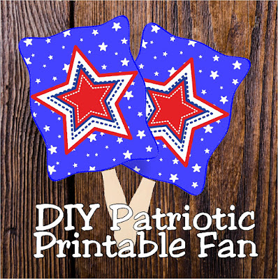 Stay cool and in the patriotic spirit with these printable patriotic fans.  They are so easy, you'll be making a bunch before the holiday and enjoying the breeze during the 4th of July activities. #patrioticparty #4thofjuly #partyprintable #fan #diypartymomblog