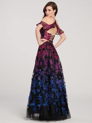 Ellie Wilde Shimmering two-piece black-multi color pro dress