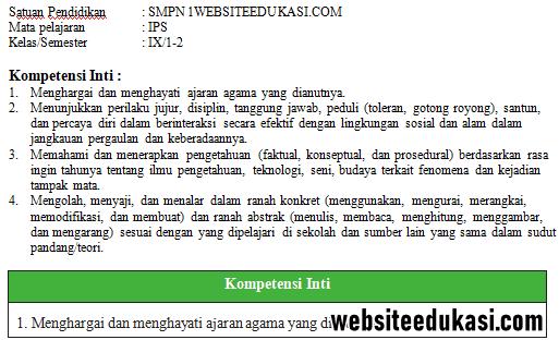 Ki Dan Kd Ips Kelas 9 Smp Mts K13 Tahun 2020 Websiteedukasi Com