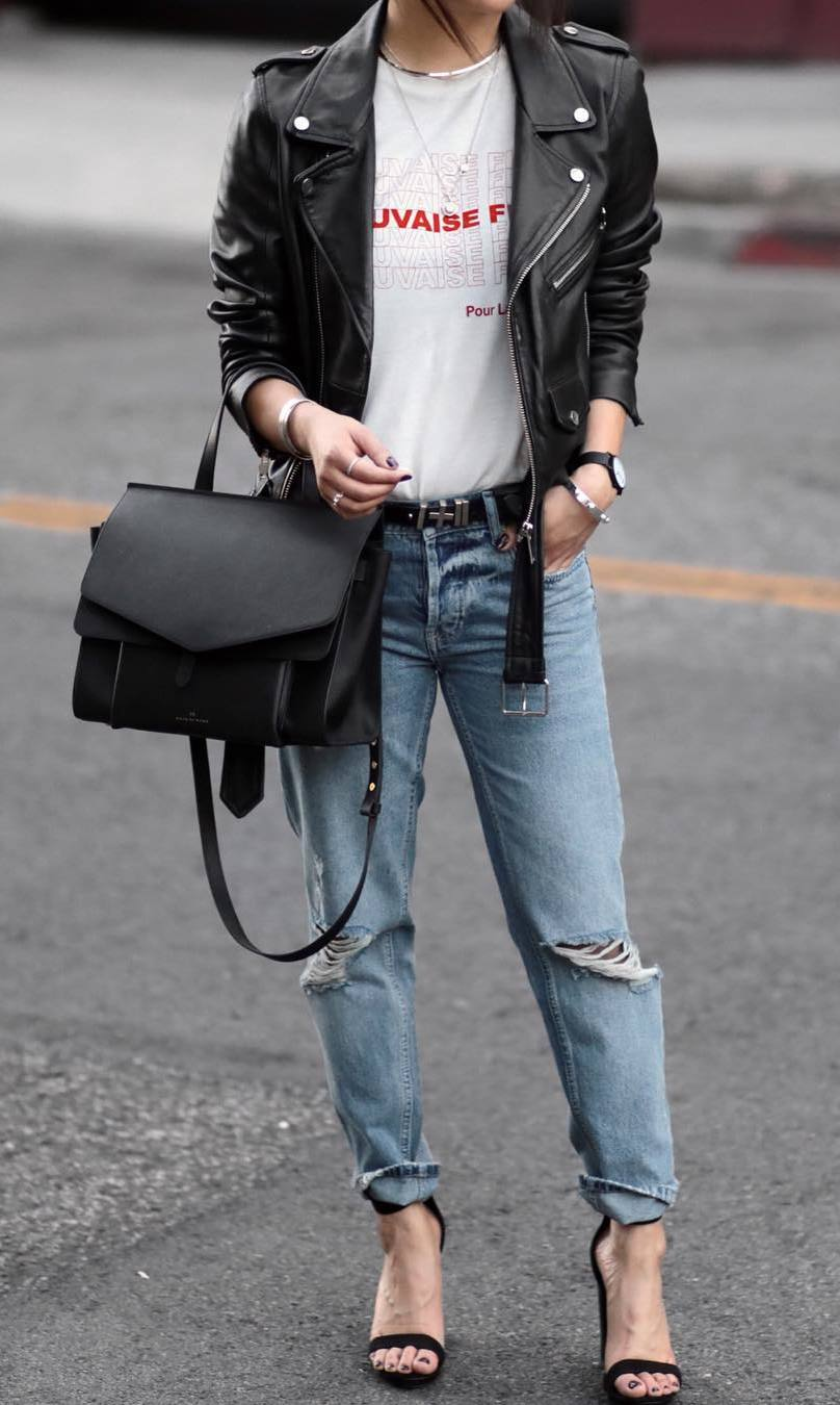 street style perfection / moto jacket + bag + printed top + ripped jeans + heels