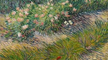 Hierba, mariposas y primavera con Van Gogh
