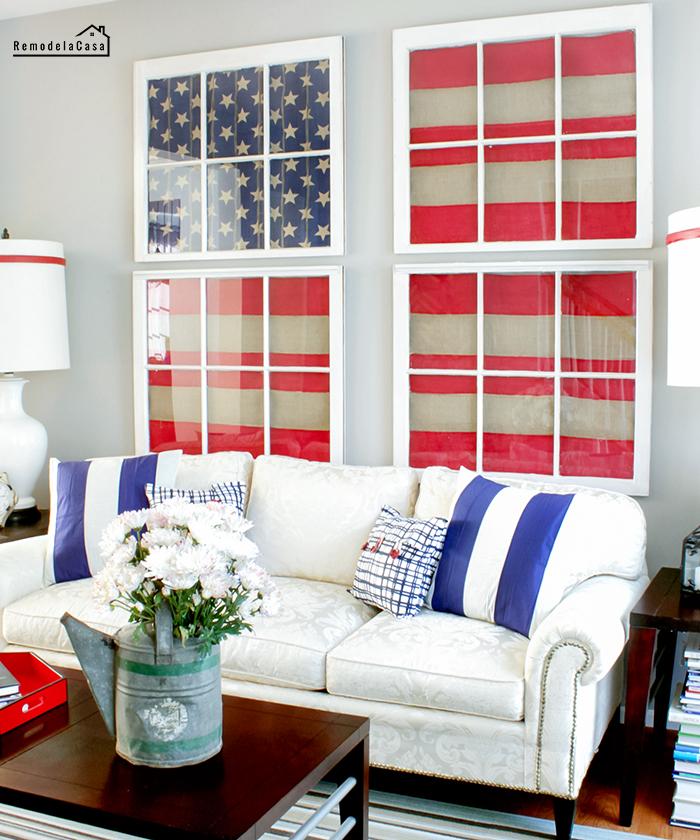 American Flag on old window art