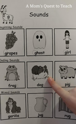 Sounds page from PRIDE Reading program for letter g