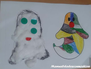 Manualidades infantiles: Fantasmas de algodón