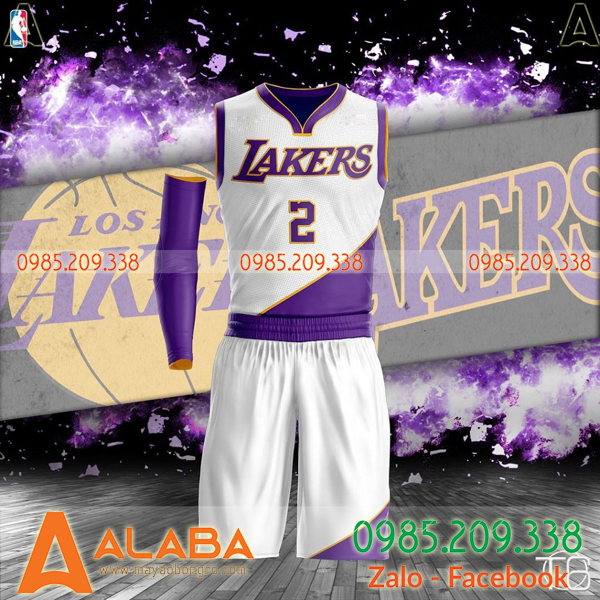 Áo bóng rổ Lakers màu trắng tím ấn tượng