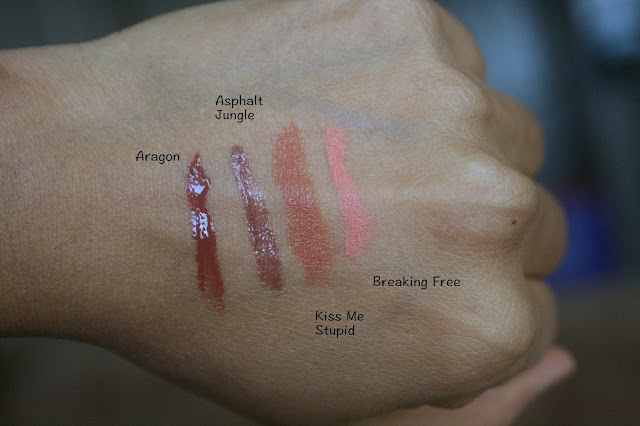 NARS Satin Lipstick in Kiss Me Stupid, Semi Matte Lipstick in Breaking Free and Lip Glosses in Asphalt Jungle and Aragon Swatches