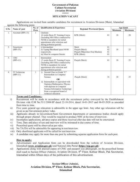 Latest jobs-Cabinet Secretariat Islamabad Jobs in Pakistan 2021