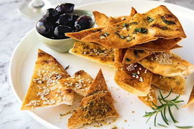 salt and sesame seeds give you options to play with when entertaining the crowd Lebanese bread crisps - 3 ways