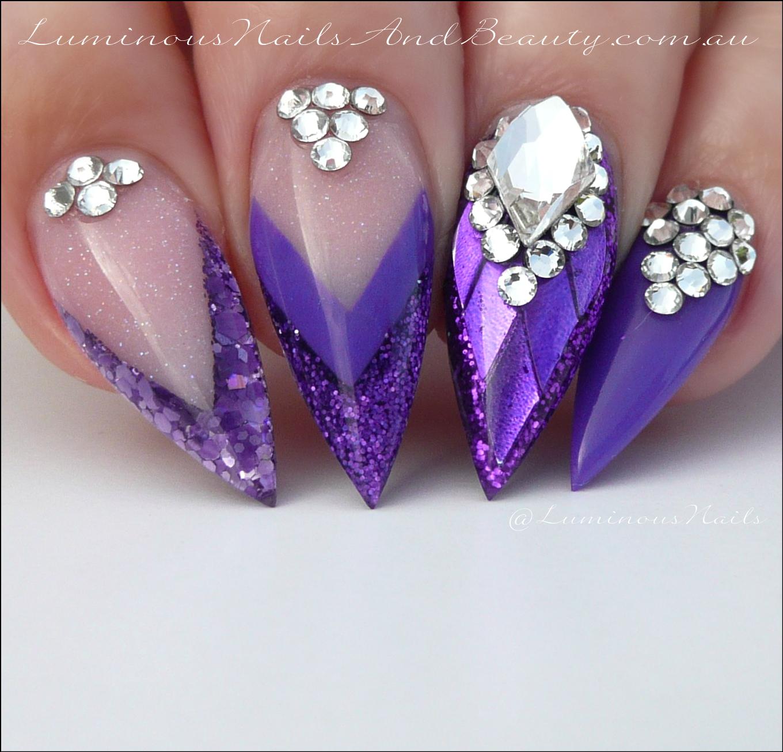 Stiletto purple nails!