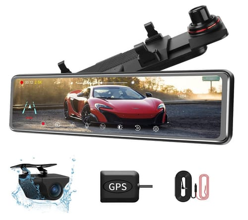 Jansite Front and Rear Dual Lens Dash Cam Mirror