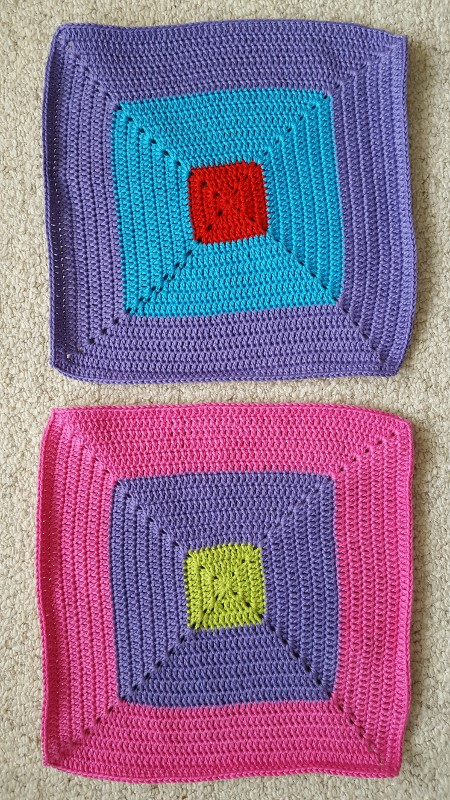 Bright colourful crochet colour-block squares.