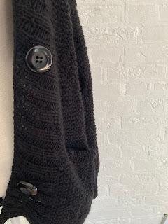 vest met knopen gebreid, zwart, vestzakken