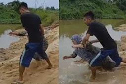 Seorang Pemuda Seret Dan Ceburkan Ibunya Ke Sungai Karena Tidak Dibelikan Motor Baru.