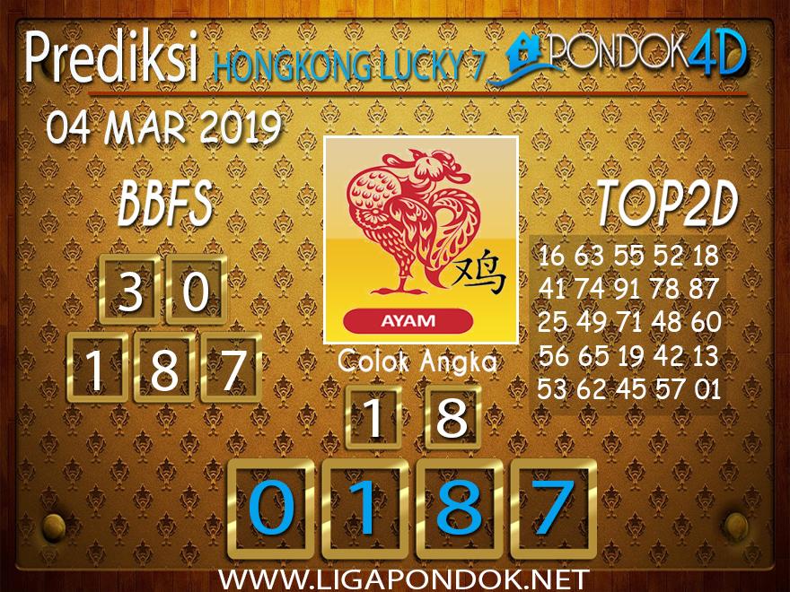 Prediksi Togel HONGKONG LUCKY7 PONDOK4D 04 MARET 2019
