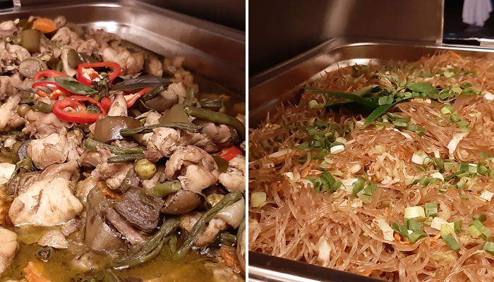 (l) Green Curry Chicken (r) Stir Fried Vermicelli with Eggs and Vegetables