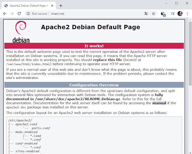 Tampilan Uji coba Web Server melalui PC Klien