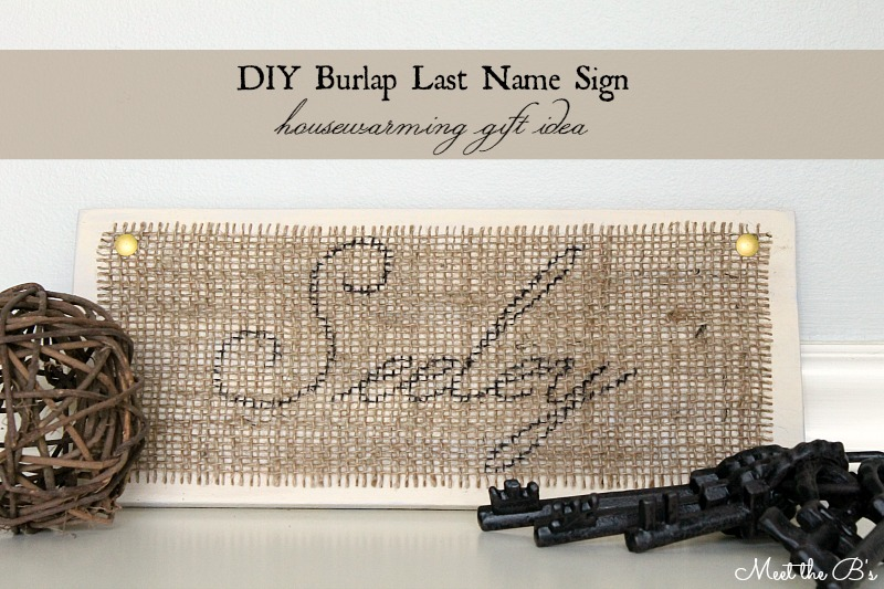 Burlap Last Name Sign- Great housewarming gift idea for a friend!