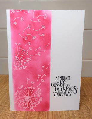 Dandelion wishes, emboss resist, pink, Art with heart, rhapsody in craft