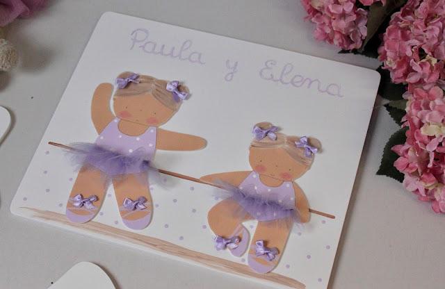 placa puerta infantil personalizada 2 hermanas bailarinas de ballet