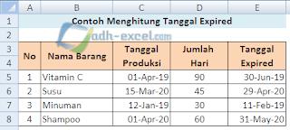 menghitung tanggal kadaluarsa berdasarkan hari