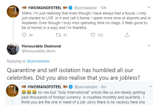Yemi Alade reacts to twitter user who said celebrities have become jobless due to the Covid-19 Lockdown