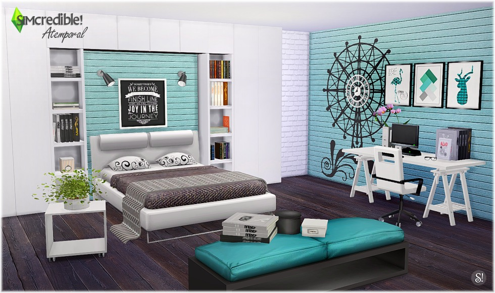 My sims 4 blog atermporal bedroom set by simcredible designs for Bedroom designs sims 4