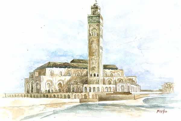 20 Contoh Gambar Lukisan Masjid Terindah Karya Seniman Dunia