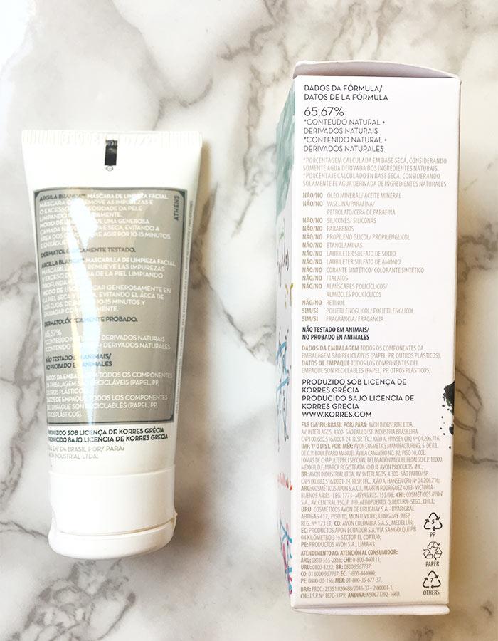 Dados da fórmula da máscara de limpeza facial Argila Branca da KORRES, indicada para todos os tipos de pele