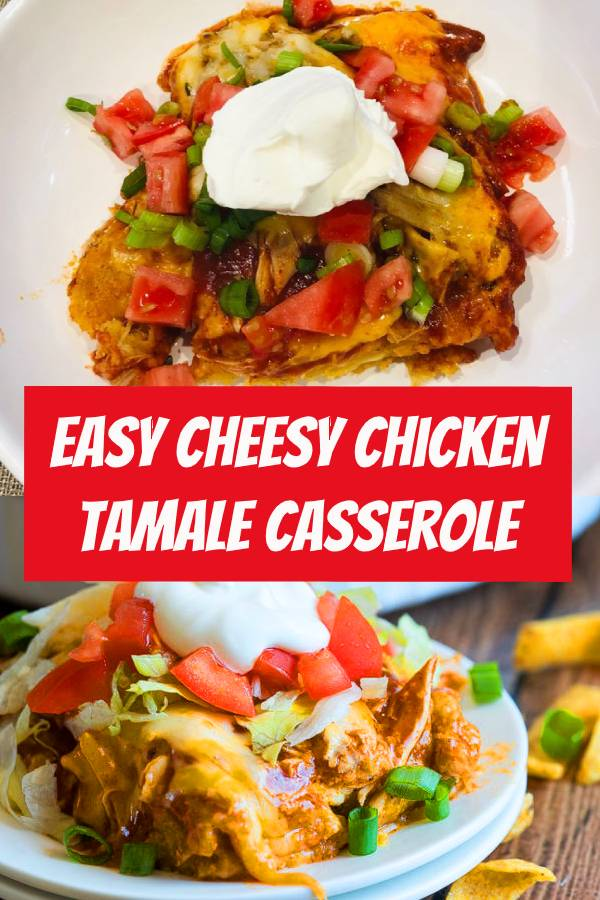 This cheesy Chicken Tamale Casserole is a quick and easy family weeknight dinner that has all the flavors of classic tamales without all the fuss! #weeknight #dinner #easydinner #casserole #chicken